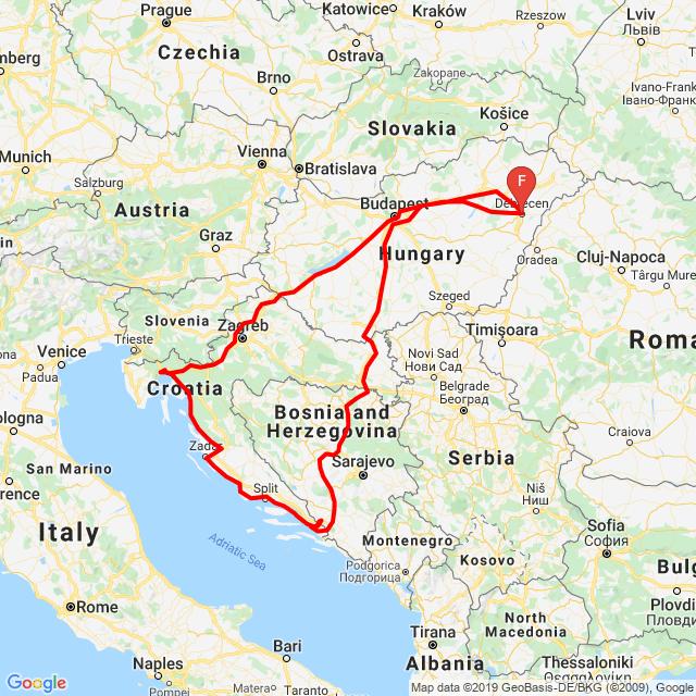 1.Villány 458,2.Gradac 540,3.Zadar 331,4.Opatia 330,5.Balaton 362