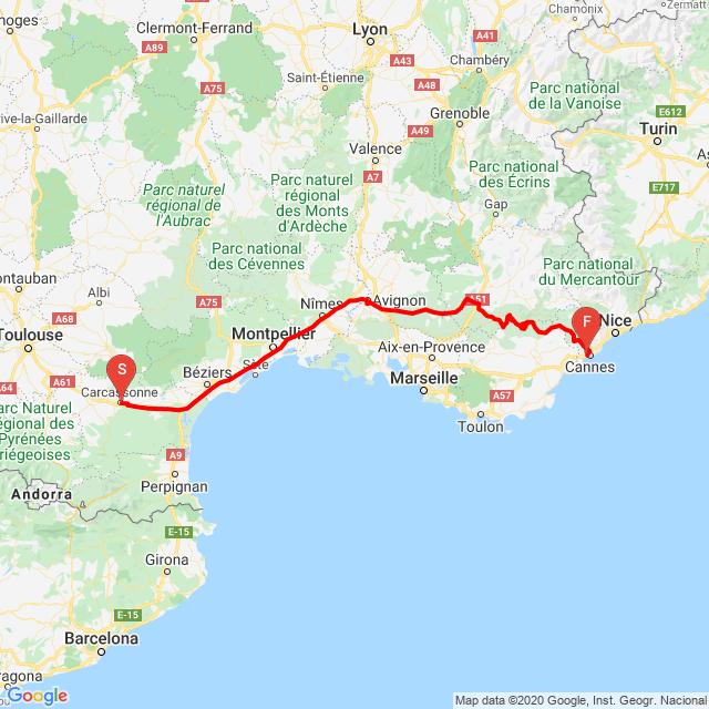 20200906 Carcassonne -> Cannes