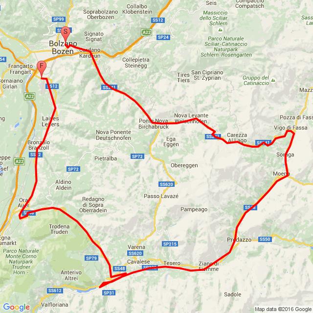Bolzano-Vigo di Fassa-Moena-Ora-Bolzano
