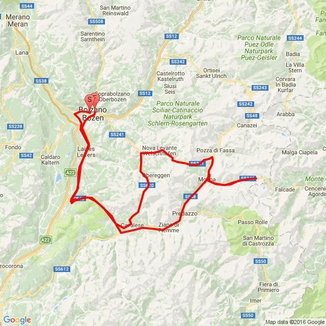 Bolzano- Cavalese-Moena-Passo di S.Pellegrino-Karrerpass-Passo Lavazé-Cavalese-Bolzano
