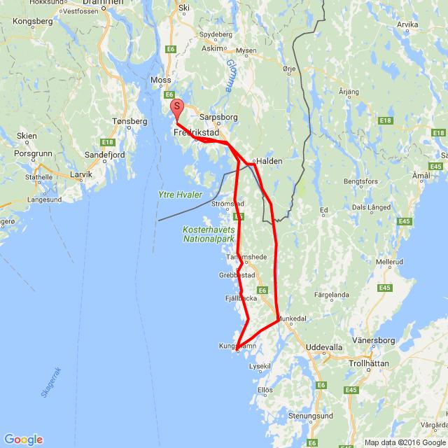 20160730 Koretveien-Glende bro-Dingle-Smøgen-Fjellbacka-Koretveien