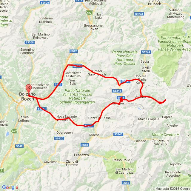 Bolzano-Karrerpass-Canazei-Passo Pordoi-Arabba-Passo Campolongo-Corvara-Passo Gardena-Selva di Val G