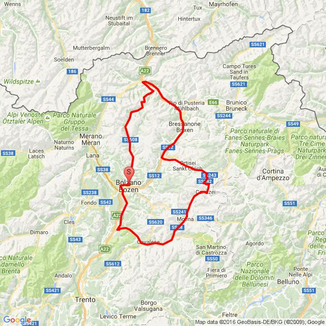 Bolzano-Cavalese-Canazie-Passo Sella-Salva di Gardena-Bressanone-Vipiteno-Passo di Pennes-Sarentino-