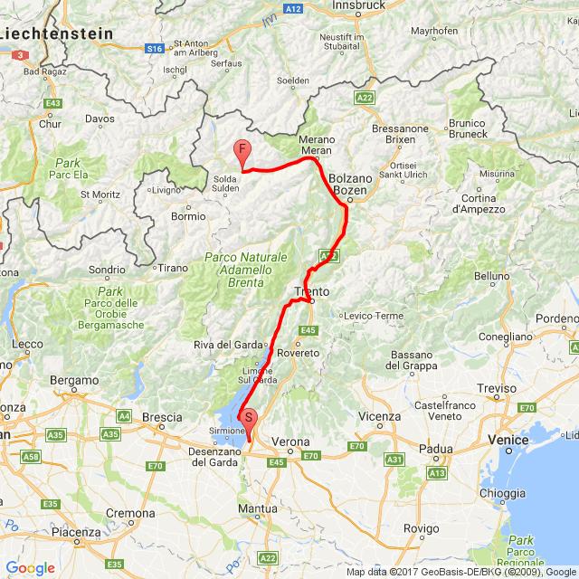 2017.07.23.   Lazise- Trento-Bolzano-Laas