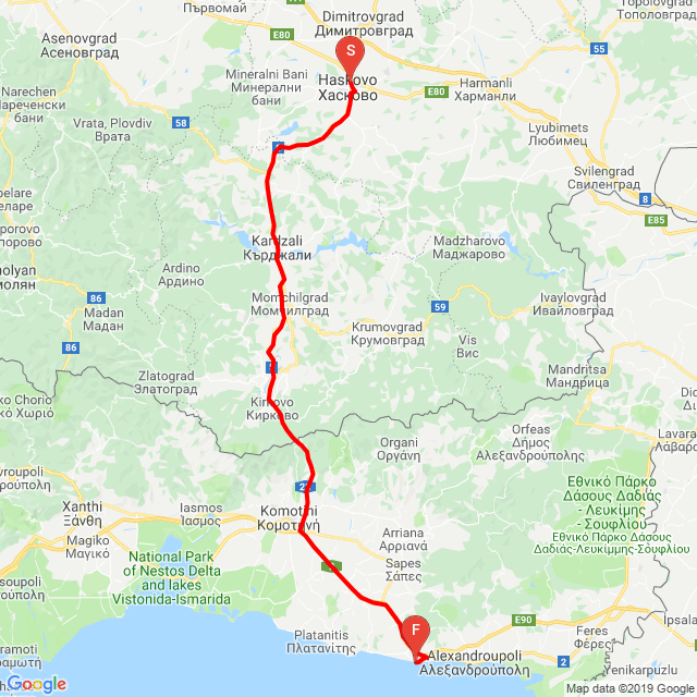 Haskovo - Kardzali - Makaza Pass - Alexandropolis