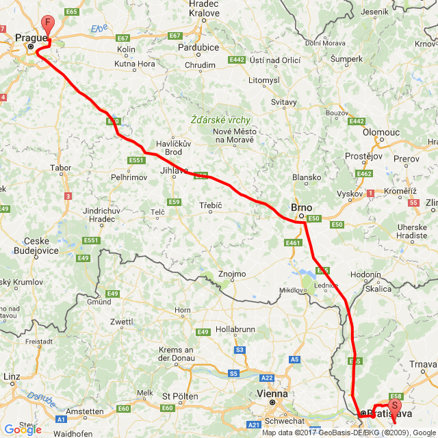 Pozsony - Prága