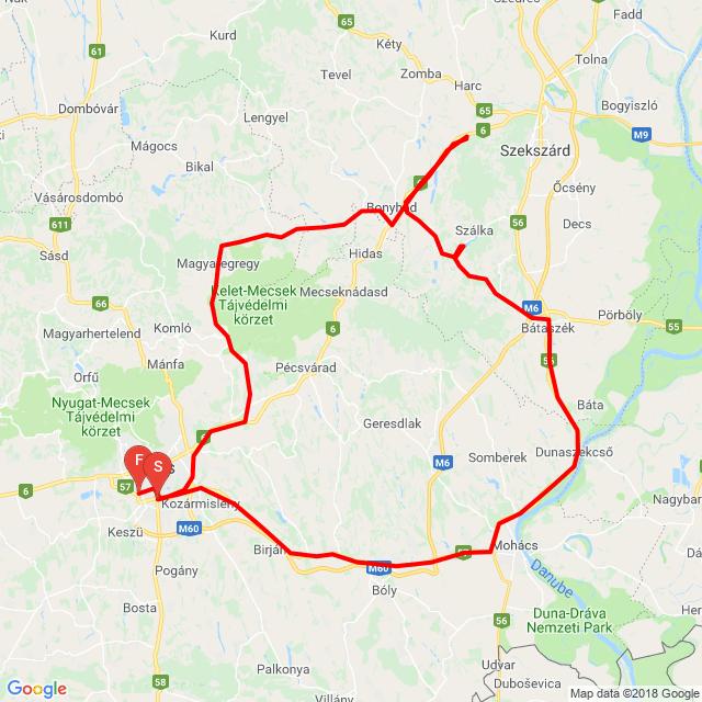 Bonyhád, Sötétvölgy, Szálka, Bátaszék, Pécs.