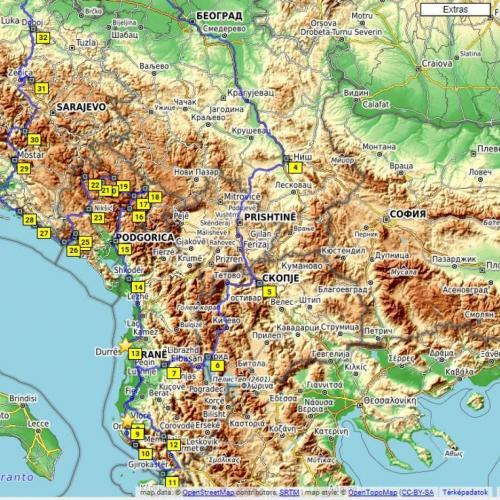 Motorral hét határon át - Balkán túra (6 éjszaka / 7 nap) - Macedónia – Albánia – Montenegró – Bosznia Hercegovina – Szerbia